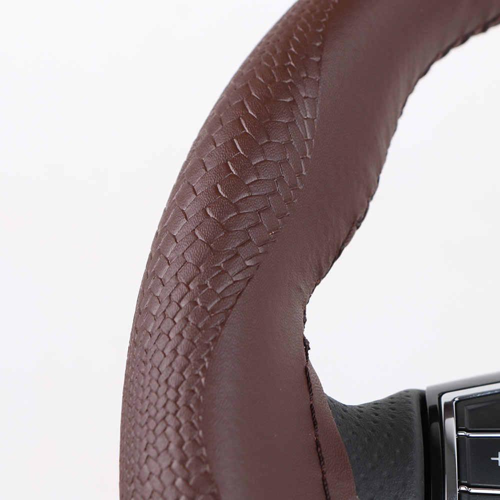 ユニバーサル本革車のステアリングホイールカバースネークスキンパターン牛革ステアリング輪編組針と糸で