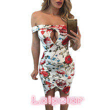 2018 Summer Clothes Women Dress Prom Cocktail Party Bodycon Off Shoulder  Floral Print  Sheath Dress Laipelar floral print halter sheath dress