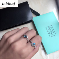 Joldhaf 925 Sterling Silver Natural Moonstone Ring Creative Design Female Rings Blue Bright CY003