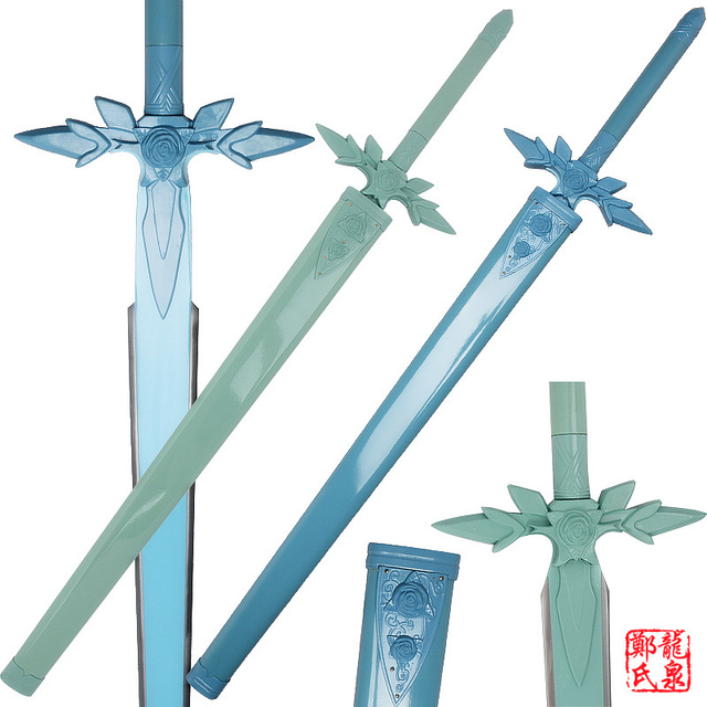 Metal Made Kirito Sword Art Online Blue Rose Eugio Replica Blade Project Alicization Wooden Scabbard Cosplay Props-No Sharp