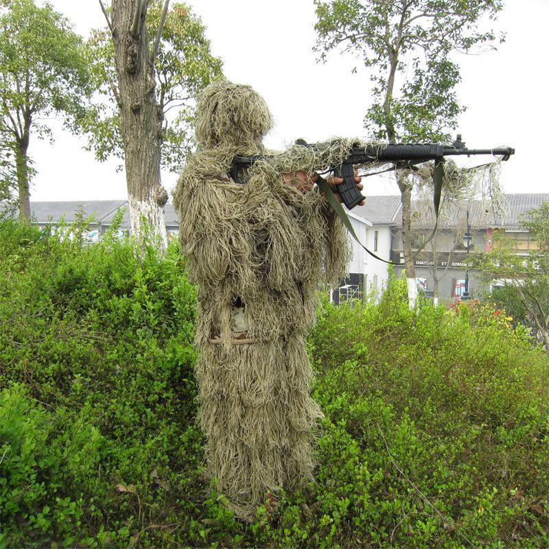 Outdoor CS Bionic Grass Ghillie Suit Yowie Sniper Tactical Camouflage Sets Hoody rifle covers Hunting Combat