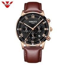 NIBOSI 2019 Yeni kuvars erkek saati Deri Chronograph Ordu Askeri Spor Saatler Saat Erkekler Relogio Masculino Erkek Reloj Hombre