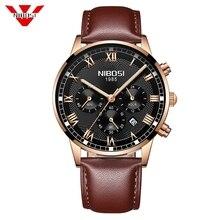 NIBOSI 2020 New Quartz Men Watch Leather Chronograph Army Military Sport Watches Clock Men Relogio Masculino Male Reloj Hombre