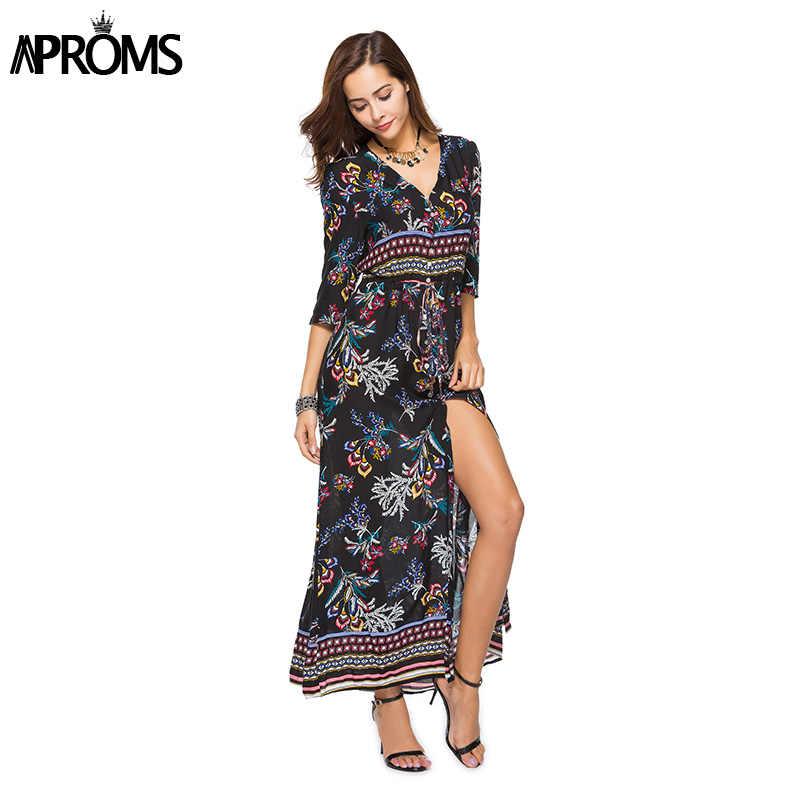 81b92f495ea Aproms V Neck Boho Print Summer Maxi Dress Women Sexy 3 4 Sleeve Buttons  Split