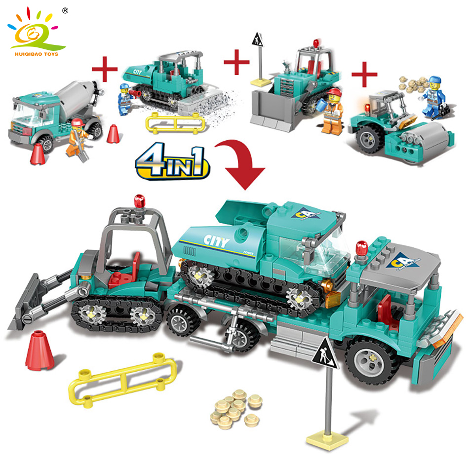 все цены на 462pcs 4in1 Engineering Construction Road Roller Building Truck Blocks Compatible Legoed City Forklift Figures Toys For Children онлайн