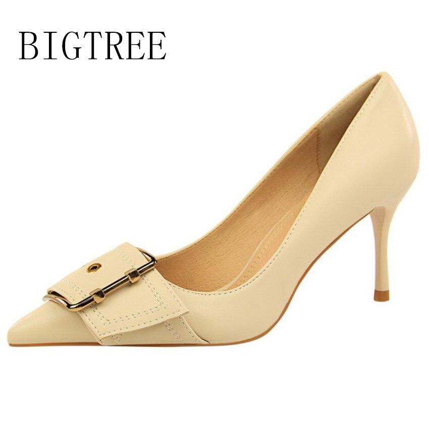 Bombas On Bigtree Slip Pu Toe Punta Stiletto Mujer Zapatos De Negro qPwBP17U