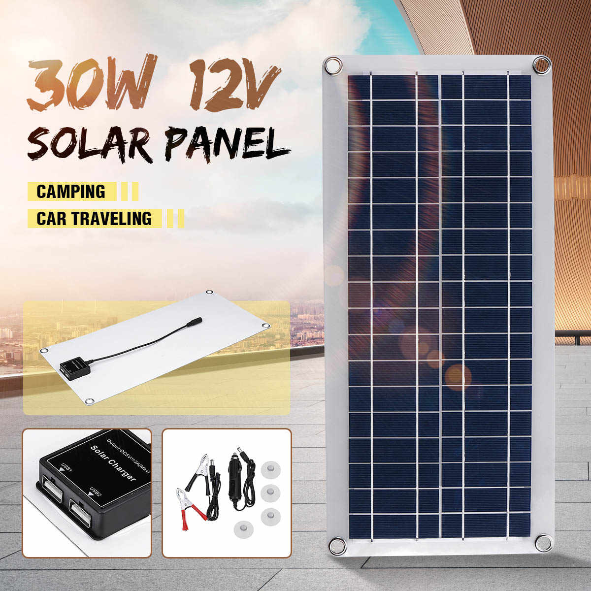 Portable 30W Solar Panel 12V Polycrystalline Double USB Power Solar Cell  Car Ship Outdoor Camping Phone Charger w/Solar Charger