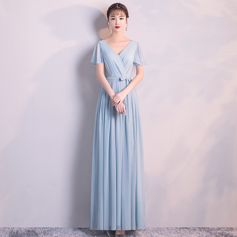 Chiffon Dress Long Bridesmaid Dresses 2019 For Women Party Formal Prom Dresses Back Of Zipper