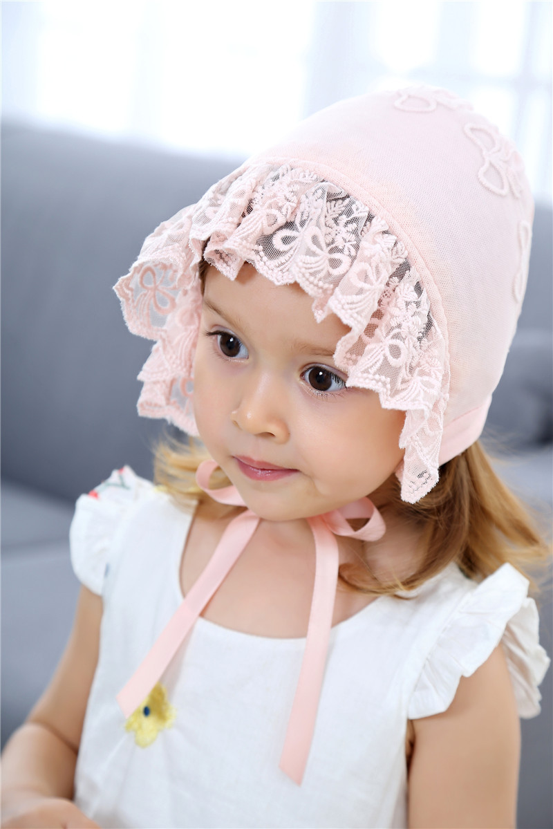 Baby Infant Christening Bonnet Beach Bucket Hat Baby Girl Sun Lace Cap Summer