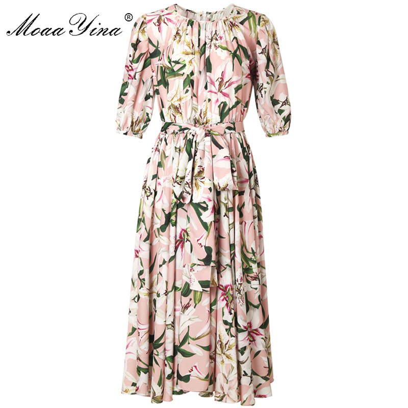 MoaaYina Fashion Designer Runway dress Spring Summer Women Dress lily Floral Print Elegant Lace Up Dresses