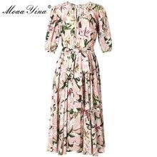 MoaaYina Fashion Designer Runway dress Spring Summer Women Dress lily Floral-Print Elegant Lace-Up Dresses