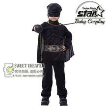 Children Masked Chivalrous Man Suit for Cosplay Halloween The Boy Zorro Straitjacket Batman Clothes Performance Stage Costume