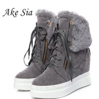 A Thick leather floor increased Female cotton shoes Keep warm snow boots Booties lace slope heel women Short boots a011