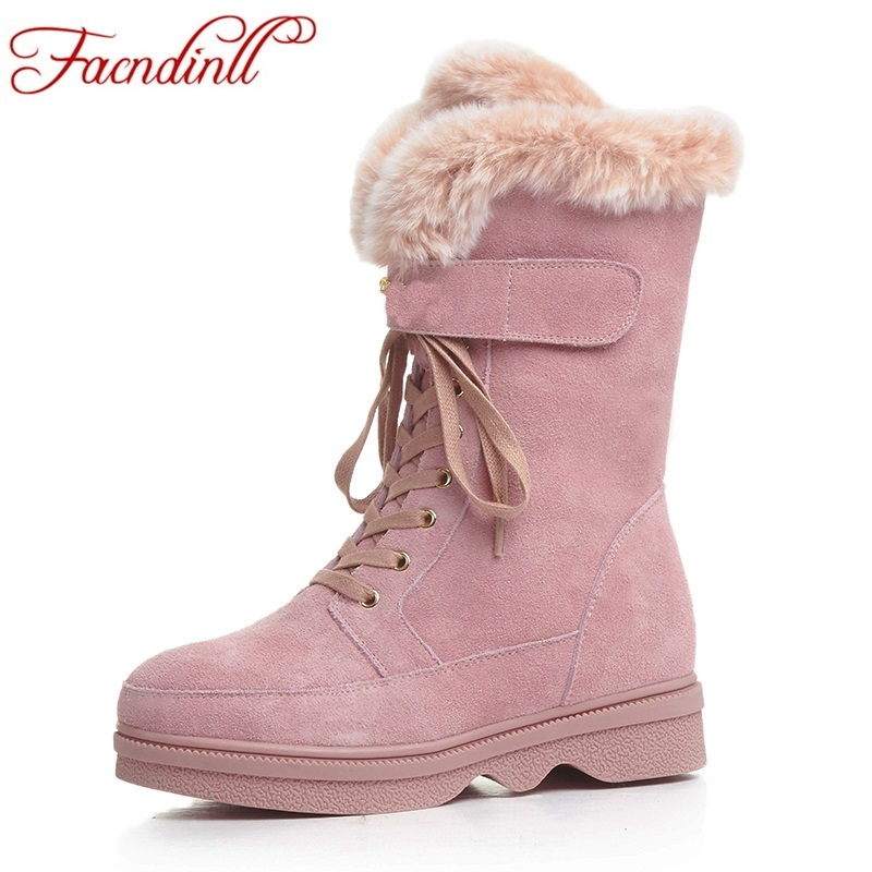 FACNDINLL new fashion genuine leather ankle boots for women med heels round toe pink women dress party casual winter snow boots only true love new arrival genuine leather women fashion flat heels equestrian snow boots round toe women boots