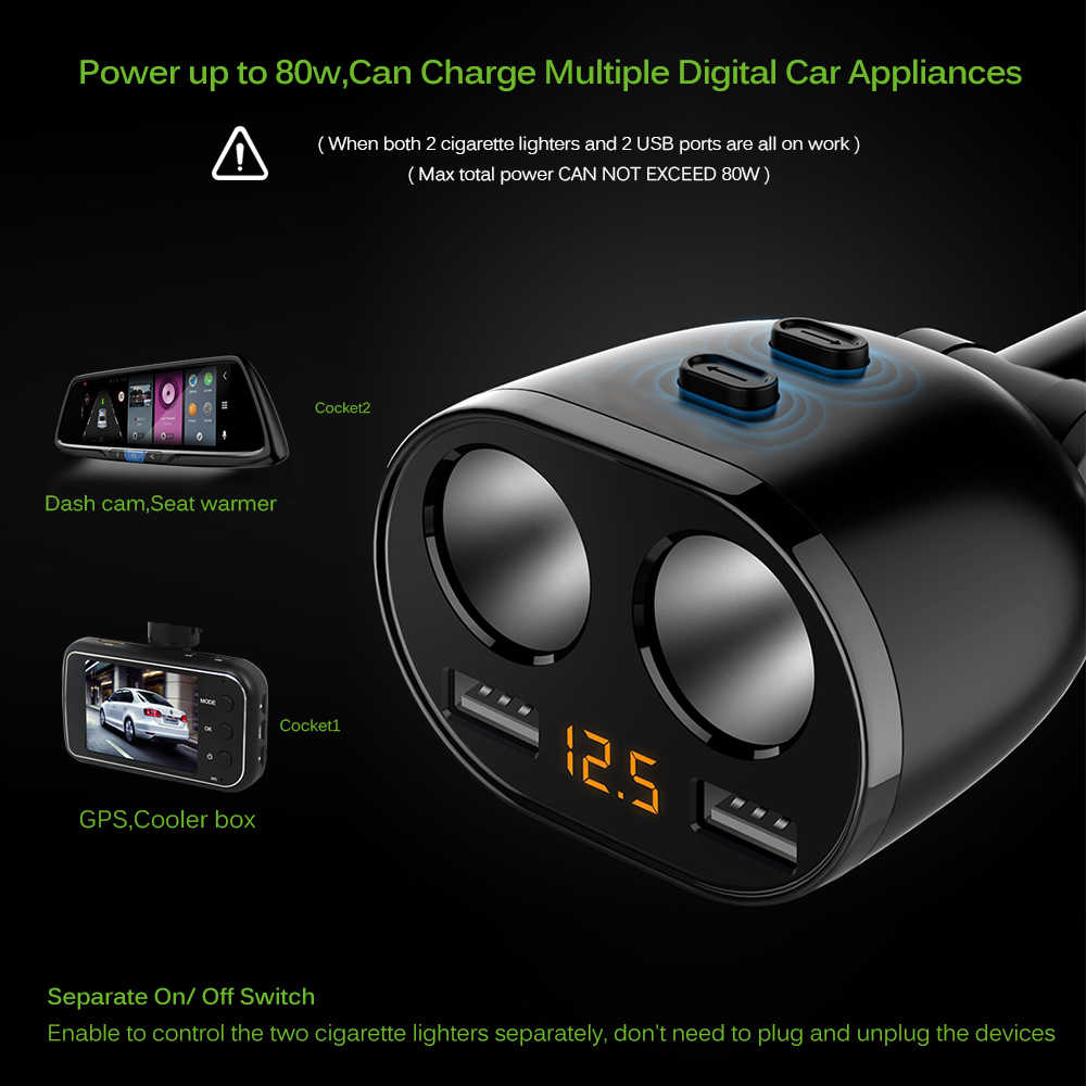 2 Way Auto Car Cigarette Lighter Socket Splitter Charger 3.1A Dual USB Car Charger Power Adapter for iPhone Samsung GPS DVR Cam