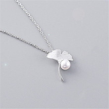 цена 925 Sterling silver Pendant necklace Ginkgo leaf pearl Women's fashion necklace jewelry wholesale онлайн в 2017 году