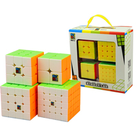 Beste Verjaardagscadeau 4 Stks/set 2x2x2 3x3x3 4x4x4 5x5x5 Stickerloze Magic Cube Puzzel voor Jongens 2*2*2 3*3*3 4*4*4 5*5*5 Moyu Cubes