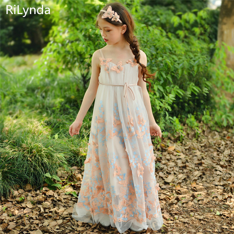 NEW   Flower     Girl     Dresses   Tulle 2019 Beading Appliqued Pageant   Dresses   For   Girls   First Communion   Dresses   Kids Prom   Dresses