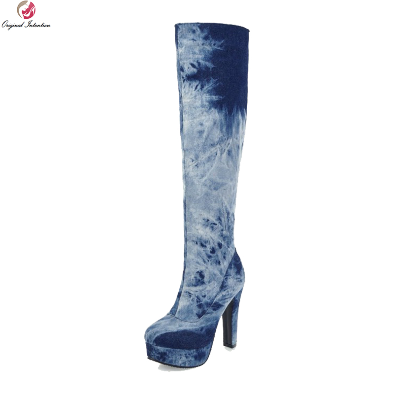 Original Intention New Stylish Women Knee High Boots Round Toe Square Heels Boots Blue Dark Blue Shoes Woman Plus US Size 4-16 велосипед altair city high 28 19 2015 dark blue