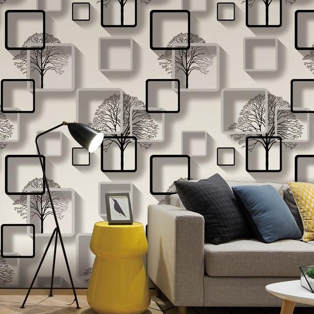 Us 168 52 Offwhitepurpleblue Modern 3d Wallpaper For Living Room Bedroom Tv Background Home Decoration Squares Pattern Wall Paper Roll In