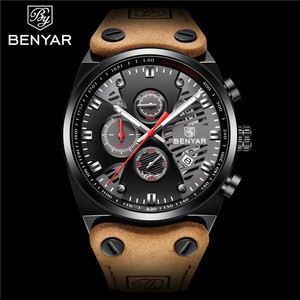 Image 2 - BENYAR New 30M Waterproof Outdoor Hollow Sports Chronograph Watch Skeleton Calendar Mens Quartz Wrist Watches Relogio Masculino