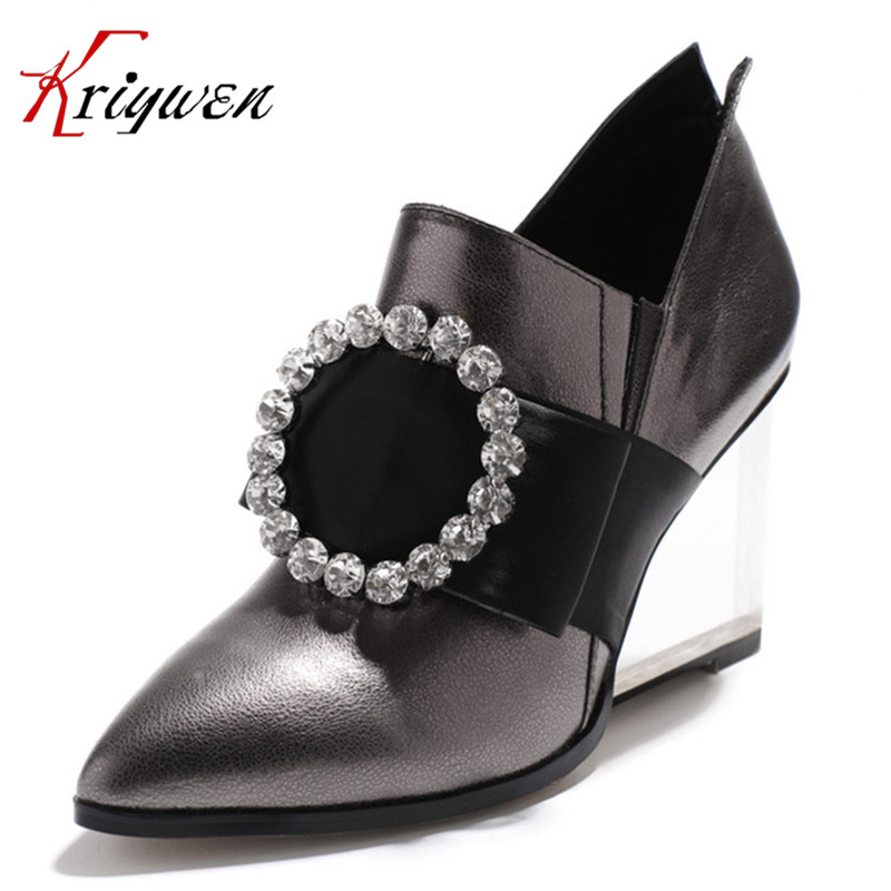 Plus Size 34-42 New 2018 Fashion Women Ladies wedges 8 cm High Heels Office Dress Work Court beading Pumps 2Color for lady shoes plus size 34 49 new spring summer women wedges shoes pointed toe work shoes women pumps high heels ladies casual dress pumps