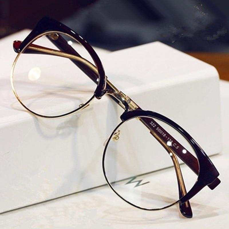 Elegante clásico medio Marcos gato ojo Gafas mujer hombre óptico ...