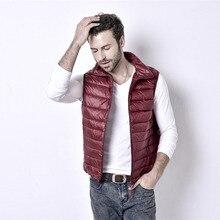 2016 neue marke clothing männer weste winter 90% weiße ente unten oberbekleidung wasserdicht ärmellose freizeitjacke männer mantel plus größe