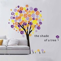 free shipping 250x175cm oversized hand painting style of modern art colorful family big tree vinyl wall decal stickers