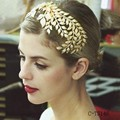 Gorgeous Wedding Hair Accessories Korean Gold Baroque Headband Leaf Shape for Bride Wear Sparkle