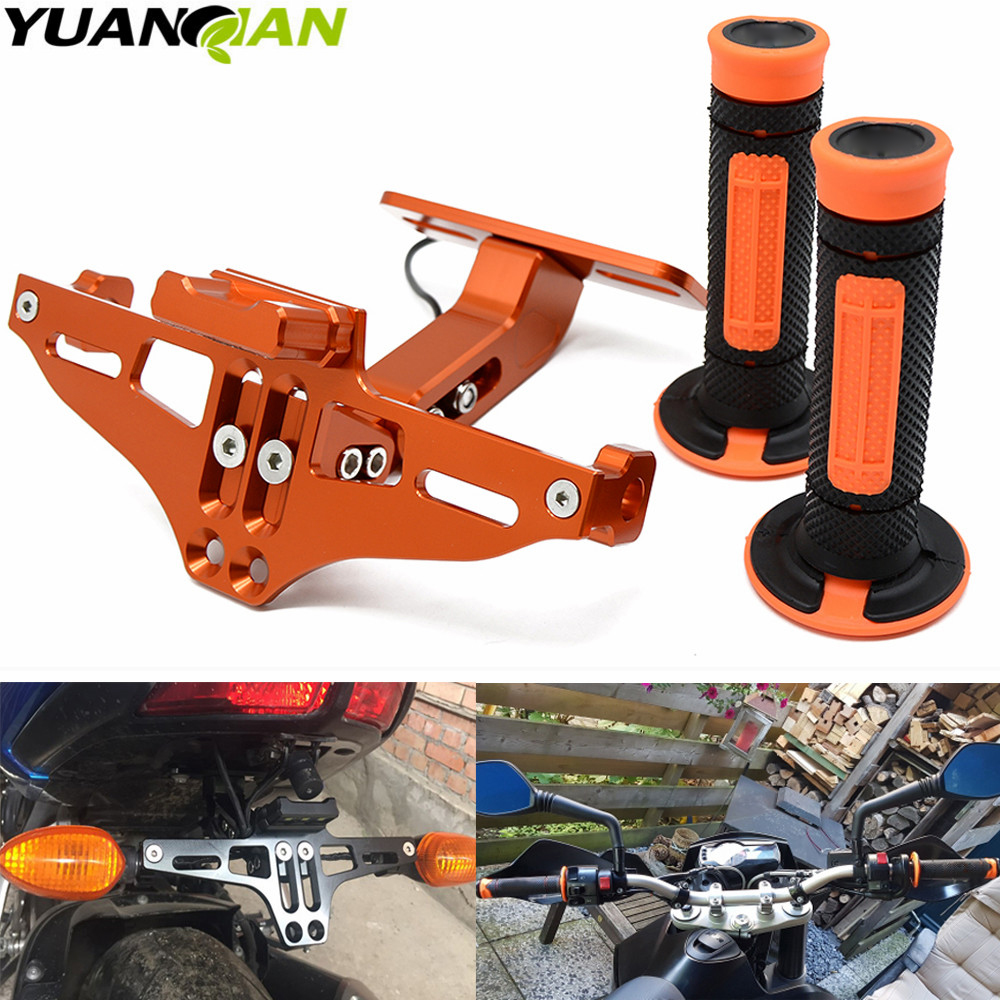 motorcycle LED License Plate Bracket Holder and hand grip Dirt Bike for KTM Duke 125 200 390 690 990 Motocross orange for ktm 390 duke motorcycle leather pillon rear passenger seat orange color