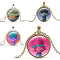 60CM Trolls Poppy Branch Pendent Set Dreamworks Movie Action Figures Toys Chain Necklace with 2.8CM Glass Toy for Girls Gift