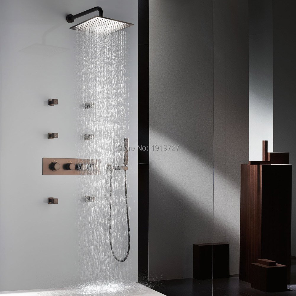 Digital shower temperature control - Orb Shower System Rainfall Waterfall Shower Heads Handheld Shower Thermostatic Control Valve And Body Jets In