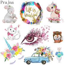 Prajna Cartoon Heat Transfer Vinyl Patch Cute Bear Iron On For Cloth Kids DIY Washable Stickers Applique