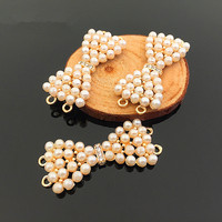 Free Shipping 20PCs 19 45MM Gold Color Plated Alloy Rhinestone Pearl Decorated Ribbon Knot Bows Connector