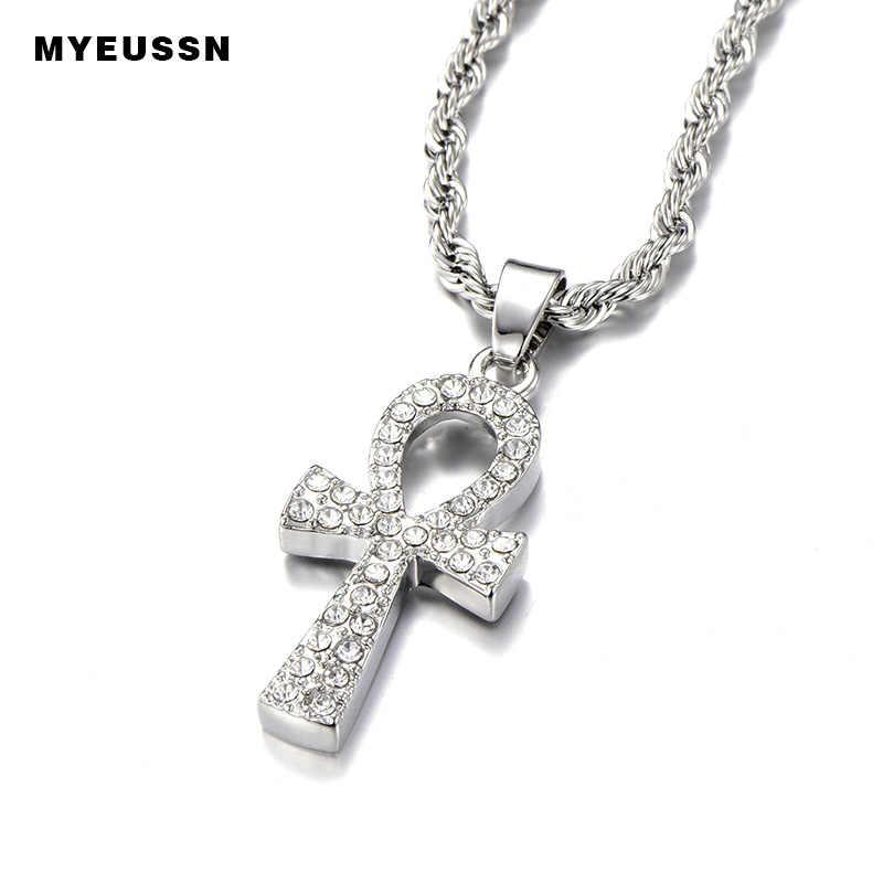 Krzyż wisiorek ze stopu dla mężczyzn złoty/srebrny klucz życia egipski naszyjnik charms Hip Hop biżuteria Bling Iced Out Chain Crystal Ankh