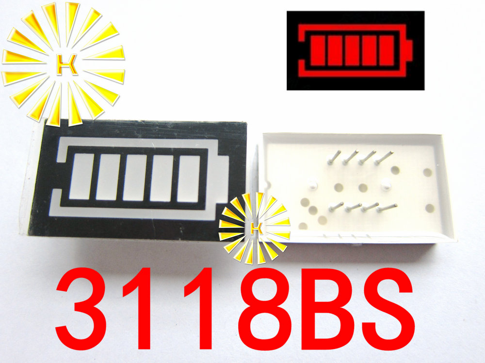 5PCS X 5 Segment Red Color Battery Style LED Digital Tube Display Common Anode 3118BS