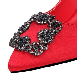 2018 New Fashion Crystal Metal Square Buckle Women Pumps Soft Silk High Heels Shoes Sexy Pointed Toe Shallow Women's Party Shoes 5