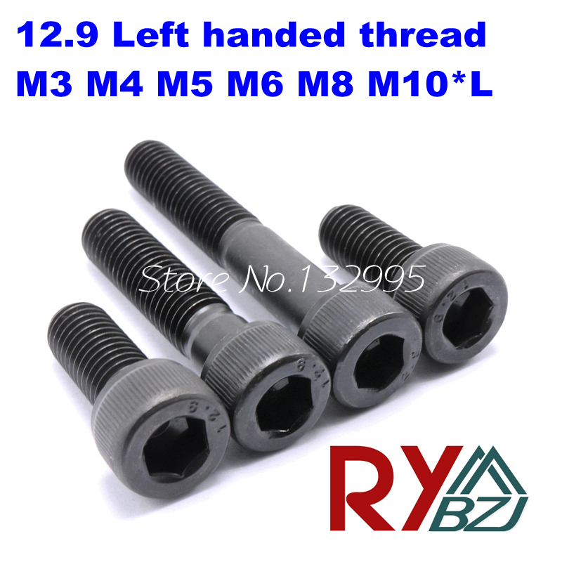 10pcs/lot M3 M4 M5 M6 M8 M10*L Left handed thread screws DIN912 Grade12.9 Alloy Steel Hex Socket Head Cap Screw 20pcs m4 m5 m6 din912 304 stainless steel hexagon socket head cap screws hex socket bicycle bolts hw003