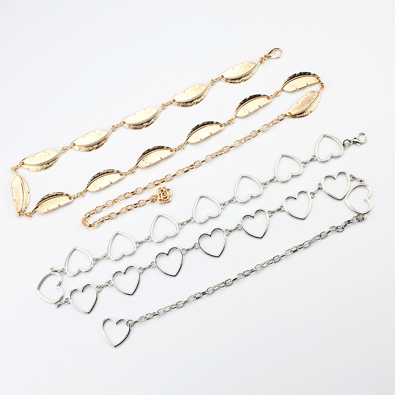 Clothes Belt Women's Lady Fashion Metal Leaves Heart Chain Belt Chain Gold Narrow Metal Chain Chunky Fringes Belt Hip New