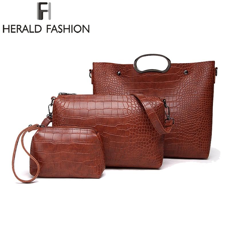 Herald Fashion Casual Stone Pattern Women Handbag 3pcs/Set Shoulder Bag Ladies Pu Leather Messenger Bag New Arrival