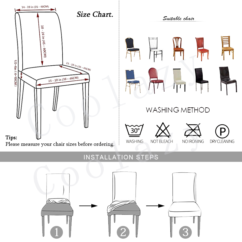 1 to 6 Pcs Dining Chair Cover with Elastic made of Polyester and Spandex Material 1