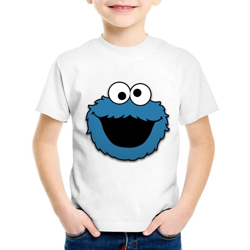 купить Children Cartoon Sesame Street COOKIE MONSTER Funny T shirt Summer Kids T-shirt Boys/Girls Tops Baby Casual Clothes,HKP2412 по цене 344.07 рублей