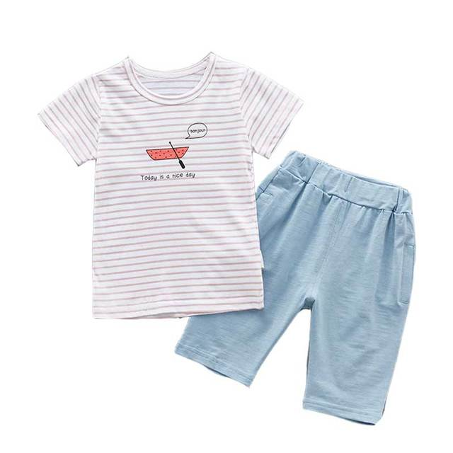 0d8d645f7 2-5T Girls Clothing Set Striped Boat Print Tops Solid Color Shorts Boys  Clothing Two Pieces Children Clothing Kids Clothes Set