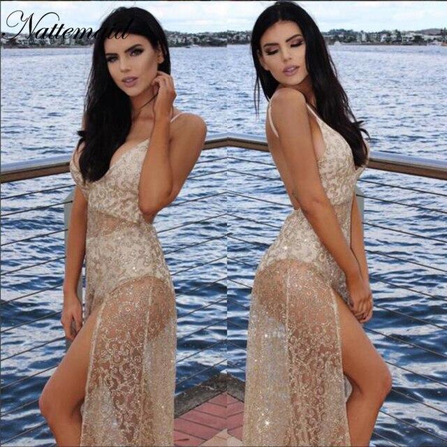 NATTEMAID 2017 Popular Mesh Sheer Maxi Dresses Embroidered Long Split  Sequined Dress Women Backless self portrait 0aeab36d2d2e