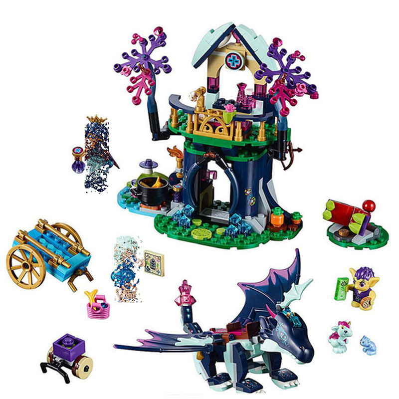 Lepining 467pcs Elves Dragon Rosalyn's Healing Hideout Tree House <font><b>10697</b></font> Girls Building Blocks Toy Fit Elves 41187 image