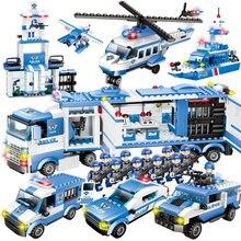 Город полиции серии 8 в 1/6 в 1 автомобиль вертолет полиции Staction Строительные блоки DIY Кирпичи совместимы с Legoed