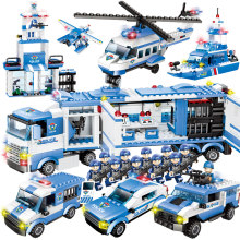 City Police Series 8 in 1/6 In 1 Vehicle Car Helicopter Police Staction Building Blocks DIY Bricks Compatible with Legoed(China)