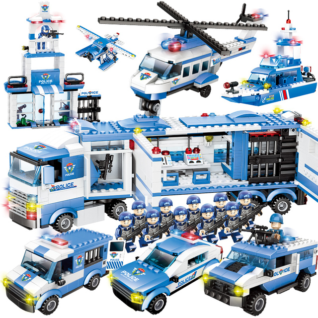 City Police Series 8 in 1/6 In 1  Vehicle Car Helicopter Police Staction Building Blocks DIY Bricks Compatible with Legoed
