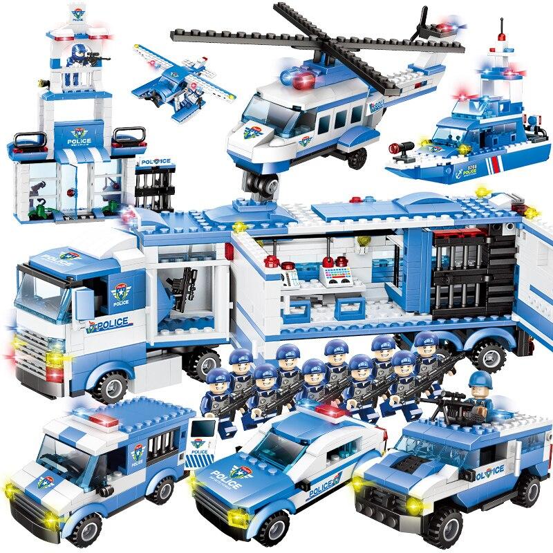 La policía de la ciudad de la serie 8 en 1/6 en 1 vehículo coche helicóptero de policía Staction bloques de construcción de bricolaje ladrillos Compatible con Legoed